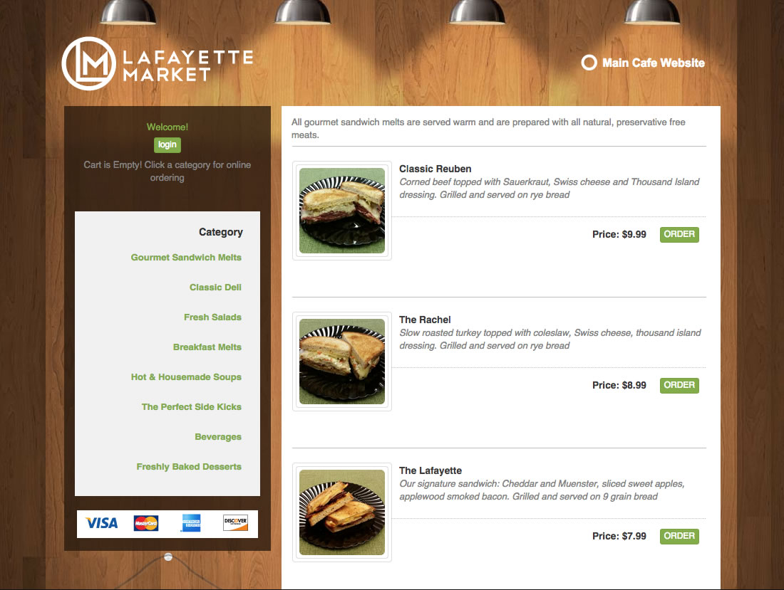 Lafayette Cafe Menu List